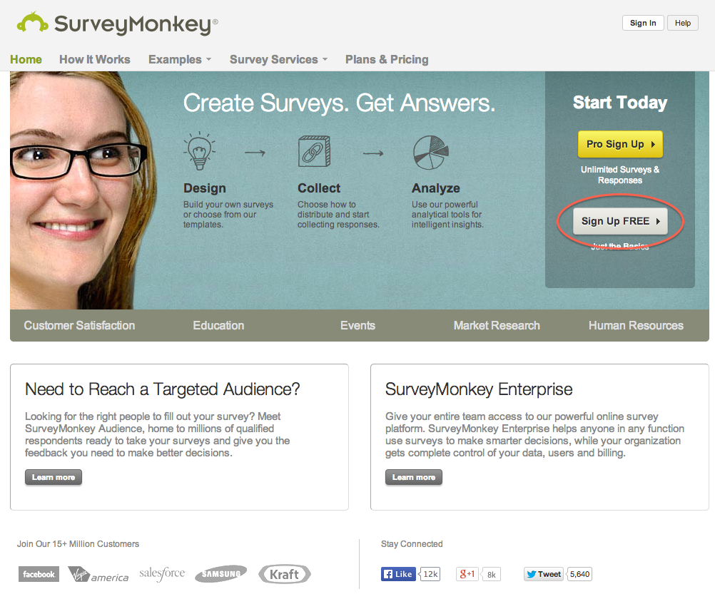 SurveyMonkey free signup