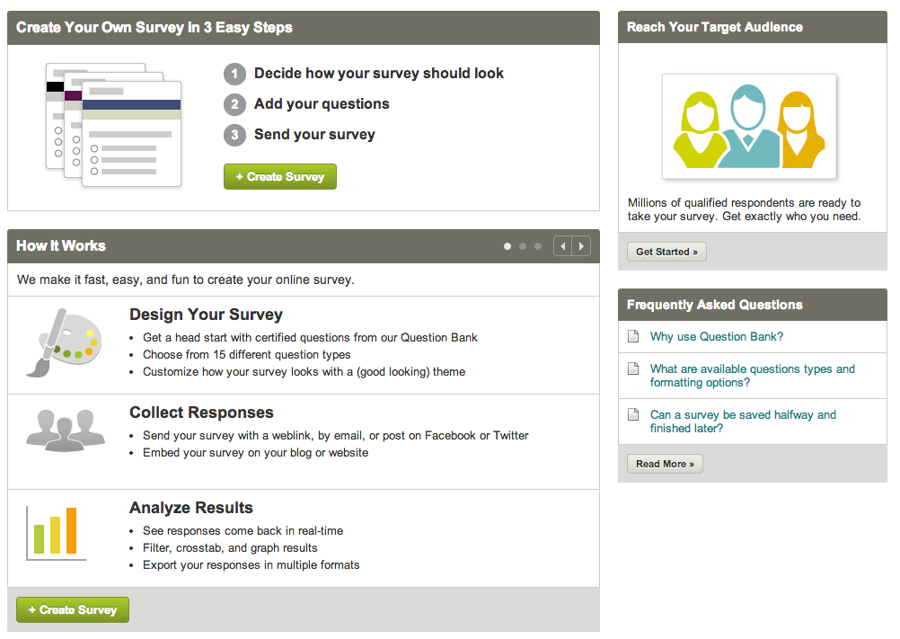 Create your own survey with SurveyMonkey